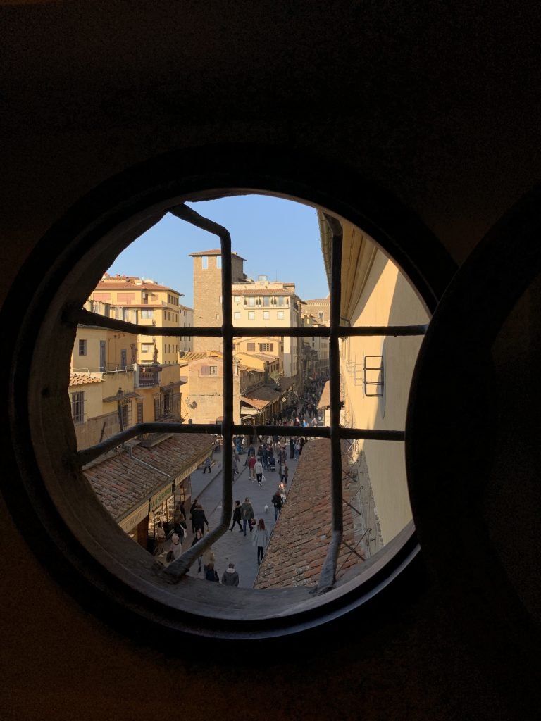 View from the Corridor. Photo by Press Office of Opera Laboratori Fiorentini for the Gallerie degli Uffizi.