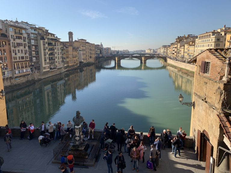 View from the Vasari Corridor onto Ponte Vecchio and Arno River. By Press Office of Opera Laboratori Fiorentini for the Gallerie degli Uffizi.